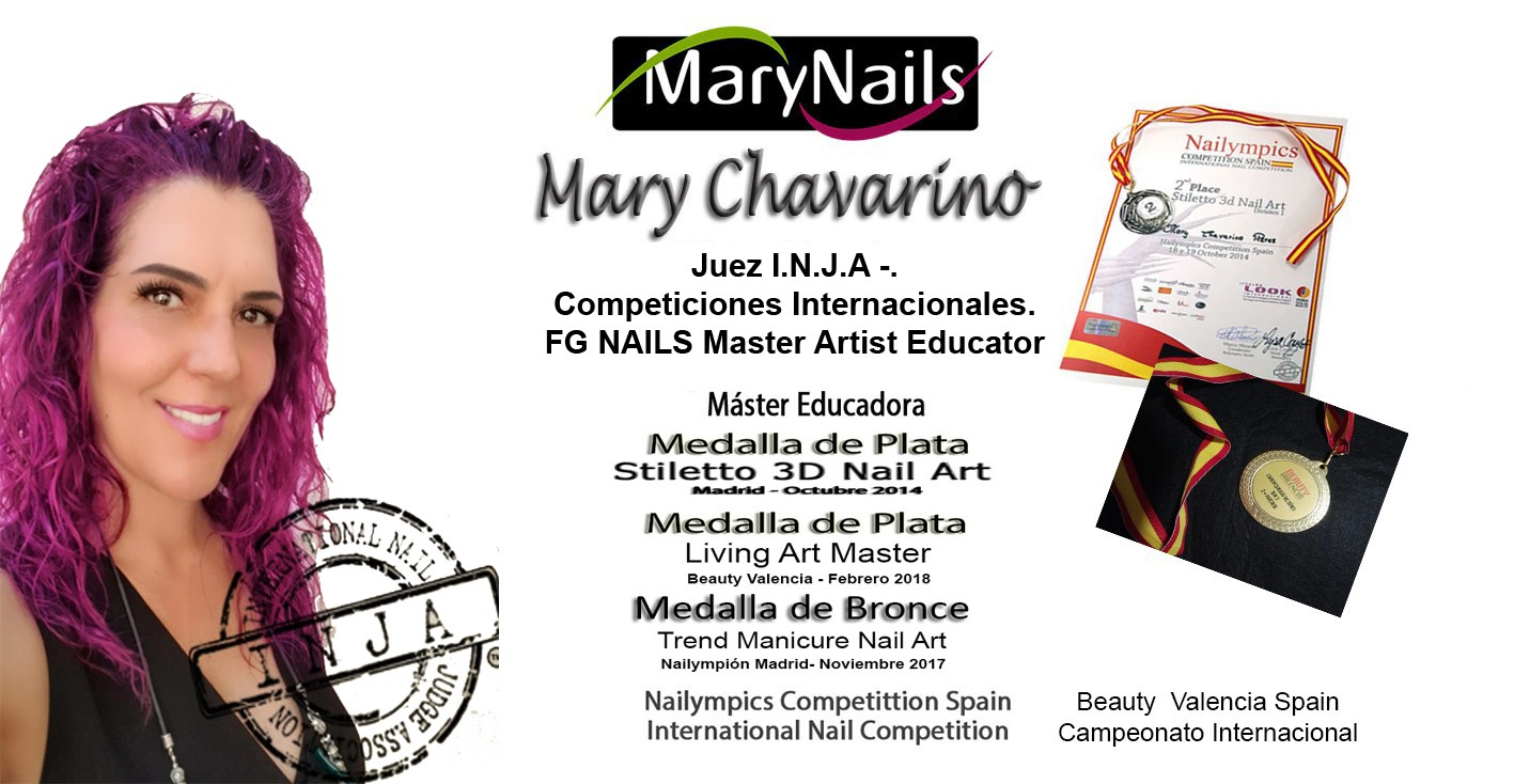 Mary Chavarino Juez I.N.J.A -.FG NAILS Master Artist Educator MaryNails